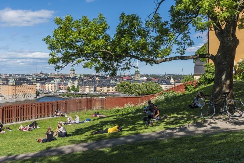 Stockholm Mariaberget; Leute in Ivar Los Park lizenzfreies stockfoto