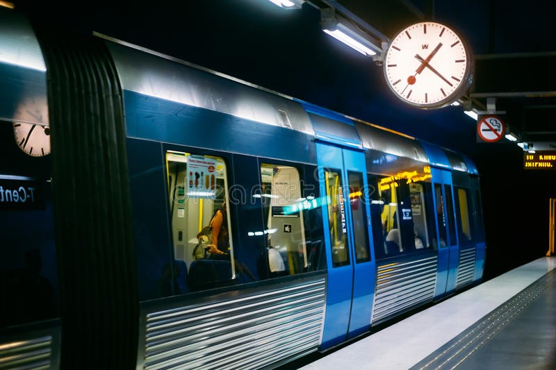 Stockholm Metro Train Station in Blue colors. STOCKHOLM, SWEDEN - JULY 30, 2014: Modern Stockholm Metro Train Station in Blue colors, Sweden. Underground stock photography