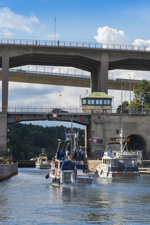 Stockholm: Motorboats pass through a lock stock image