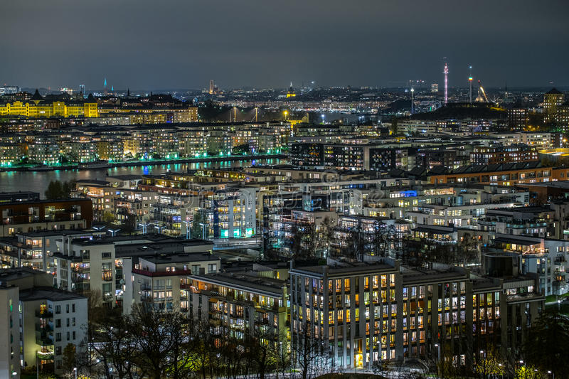 Stockholm at night stock photos