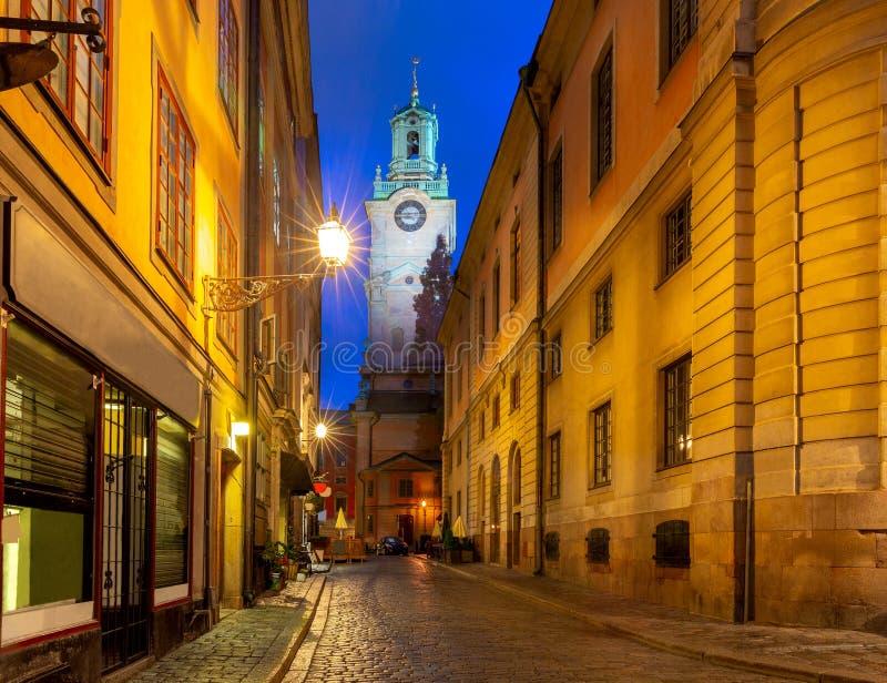Stockholm. Old narrow medieval street in night lighting. stock photo