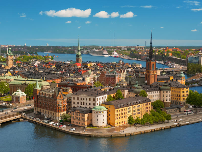 Stockholm, Old Town. Panoramic view on the Old Town of Stockholm, classical skyline; GPS information is in the file royalty free stock images