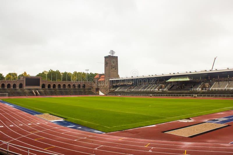 Stockholm Olympic Stadium, allmän sikt från nordvästligt royaltyfri bild