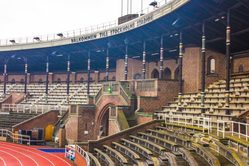 Stockholm Olympic Stadium: sydlig bänk och dörren av maraton royaltyfri bild