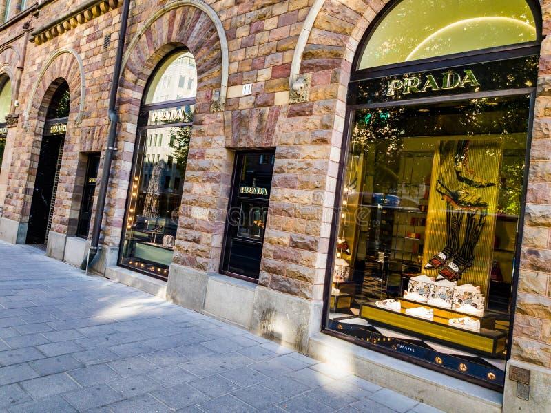 Stockholm Prada LEDARE fotografering för bildbyråer