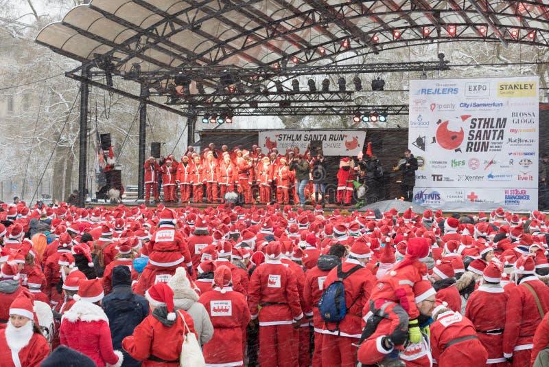 Stockholm Santa Run 2016 arkivbilder