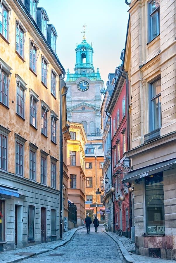stockholm schweden Gasse Stora Gramunkegrand in Gamla Stan lizenzfreie stockbilder