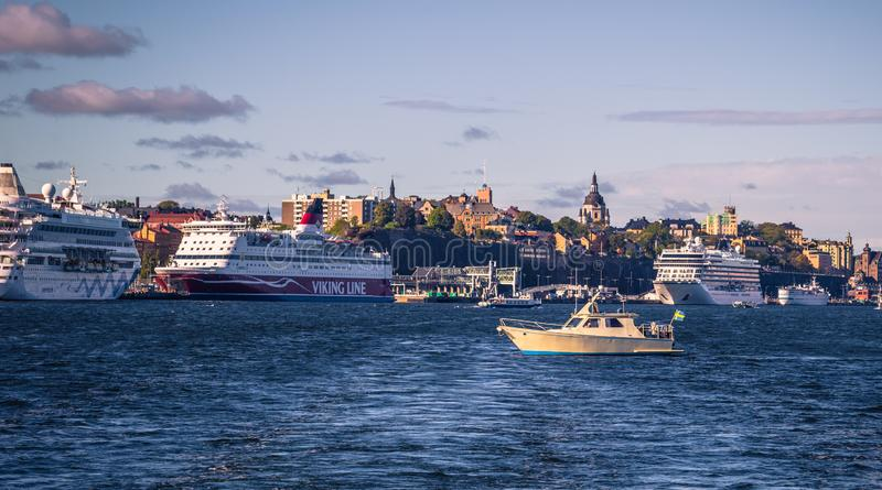 Stockholm - September 23, 2018: Boats cruising in the Swedish Archipelago in Stockholm, Sweden royalty free stock photos