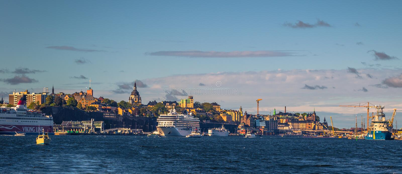 Stockholm - September 23, 2018: Historic building in Stockholm seen from the Swedish Archipelago, Sweden stock photography