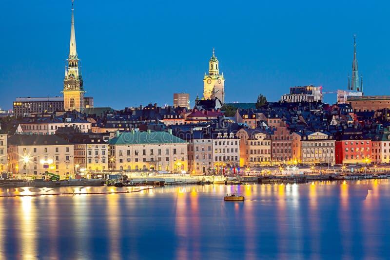 Stockholm Stadsbankieren bij zonsondergang stock fotografie