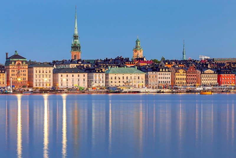 Stockholm Stadsbankieren bij zonsondergang royalty-vrije stock afbeelding