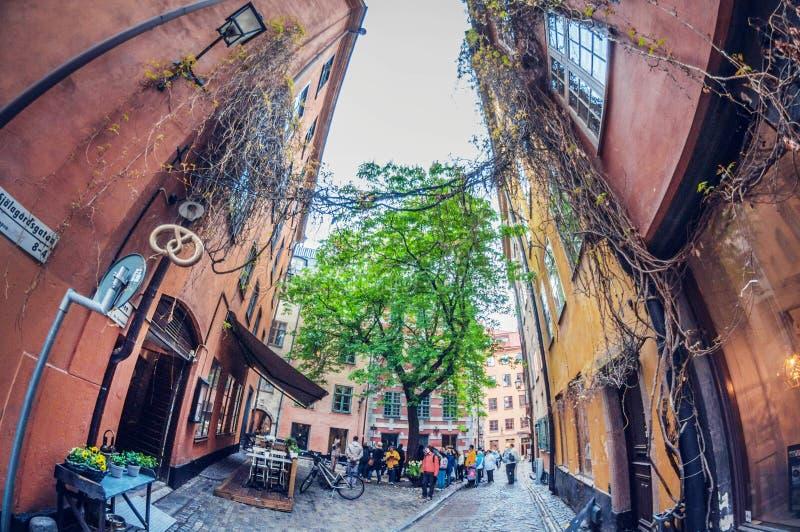 Stockholm, Suède - 16 mai 2016 : Vieille ville à Stockholm Gamla stan lentille de fisheye de perspective de déformation image libre de droits