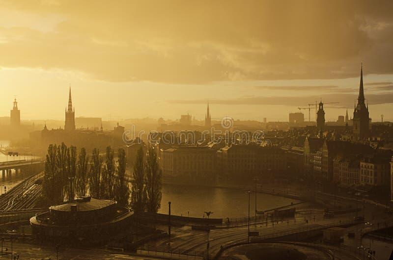 Stockholm sunset stock image