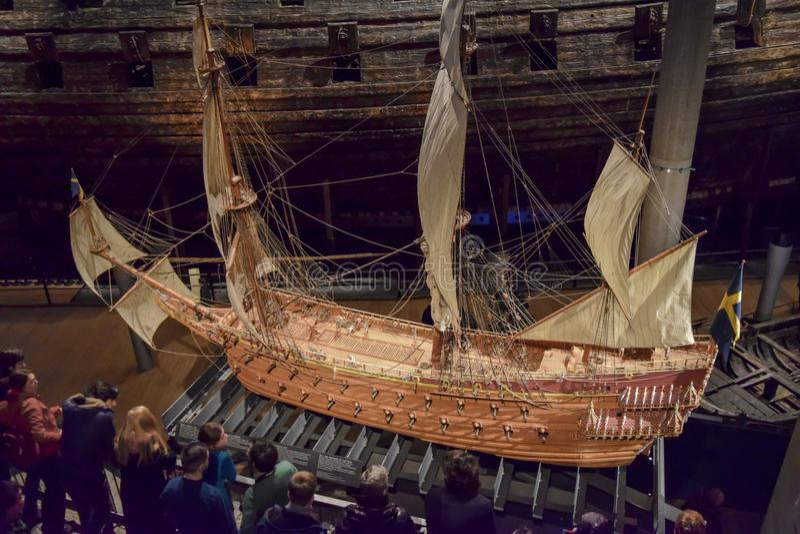 Stockholm Sverige - 31 December 2017 Vasamuseum och svensk krigsskepp för Vasa som byggs mellan 1626 och 1628 arkivbild