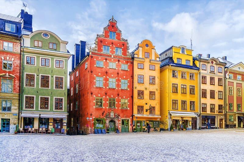 Stockholm Sverige, gammal stadfyrkant arkivfoton