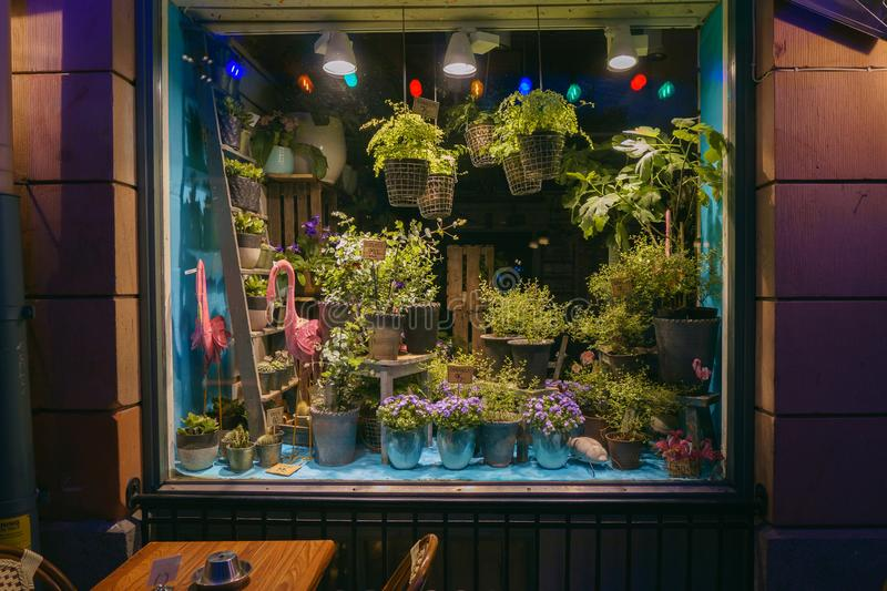 Stockholm, Sweden -April 30, 2018: Beautiful decorated flower shop window, storefront outside view in evening. Stockholm stock image