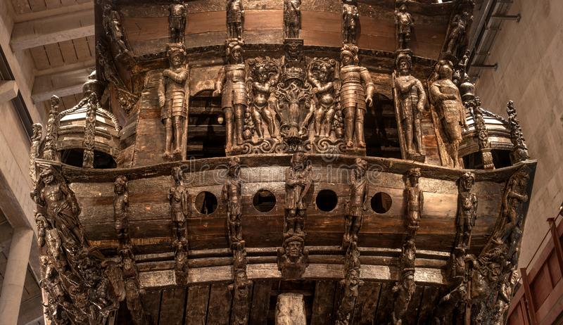 Stockholm, Sweden - April 20, 2019: Old sailing ship Vasa. Vasa Museum in Stockholm. Carved wooden decoration of the. Stern of the ship royalty free stock images