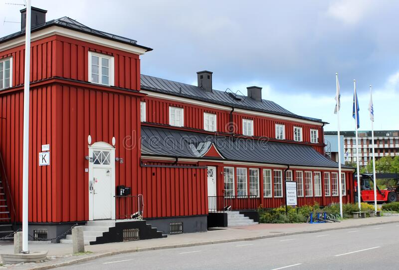 Stockholm, Sweden - August, 24, 2014: Beautiful house in StockhoPort. Stockholm, Sweden - August, 24, 2014: Beautiful bright house in Stockholm. Port stock photos