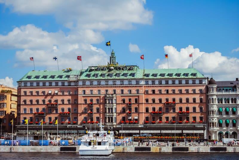 Stockholm, Sweden - August 5 2012 : the Grand Hotel at Södra Blasieholmshamnen.  stock image