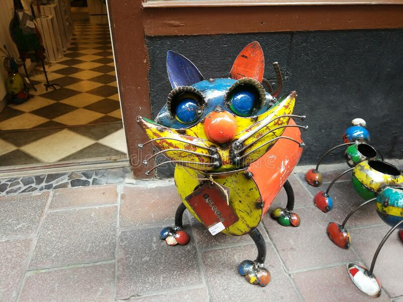 Stockholm, Sweden. August 21, 2017: an iron figure of a colored mustachioed cat. Very pretty. View stock photos