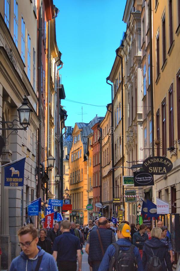 Urban scenic of Gamla Stan in Stockholm stock photos