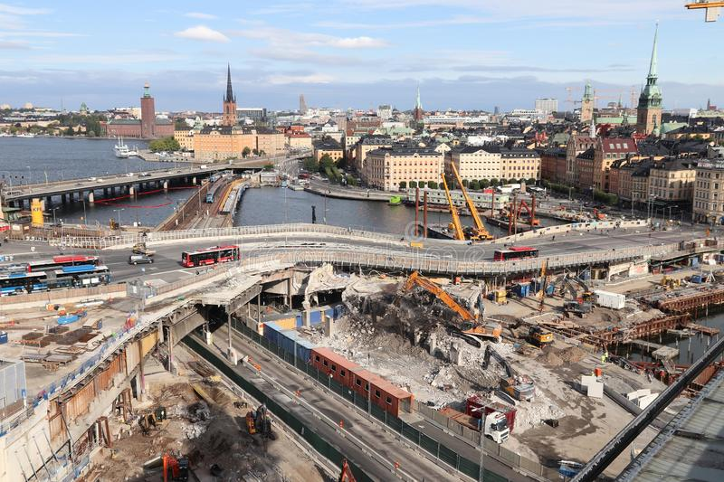 Stockholm Slussen redevelopment. STOCKHOLM, SWEDEN - AUGUST 23, 2018: Redevelopment, construction and demolition works in Stockholm, Sweden. Slussen is one of royalty free stock photos
