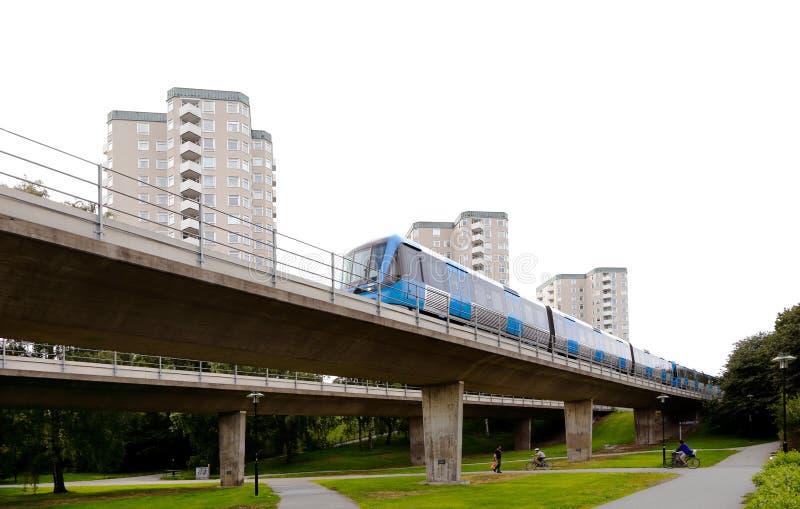 Farsta suburb. Stockholm, Sweden - August 7, 2015: A Strockholm metro train at the suburban distrcit Farsta royalty free stock image