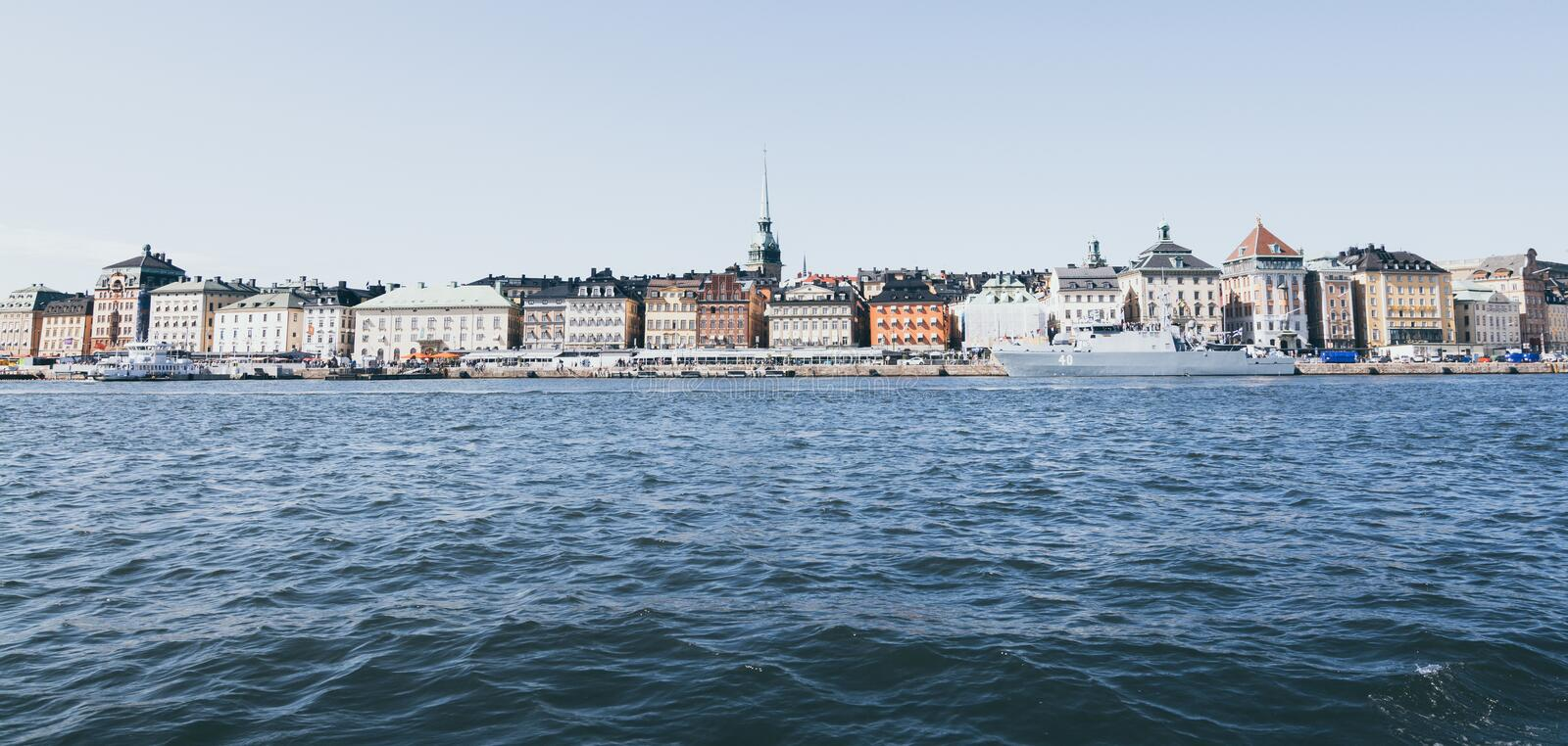 Stockholm, Sweden - August 2017: View over waterfront houses of Gamla Stan. Stockholm, Sweden - August 2017: View over old Stockholm waterfront houses of Gamla royalty free stock photography