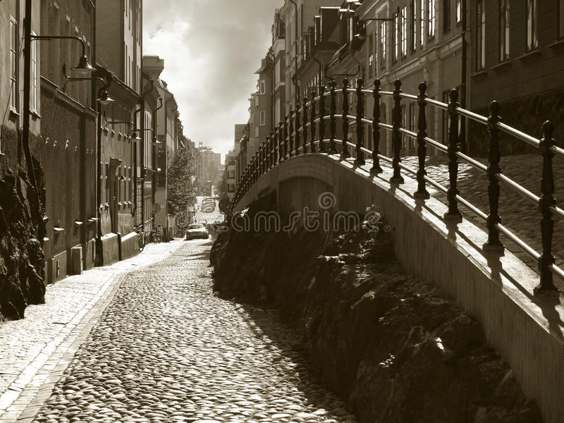 Stockholm, Sweden. Beautiful street in the district of Sodermalm stock image
