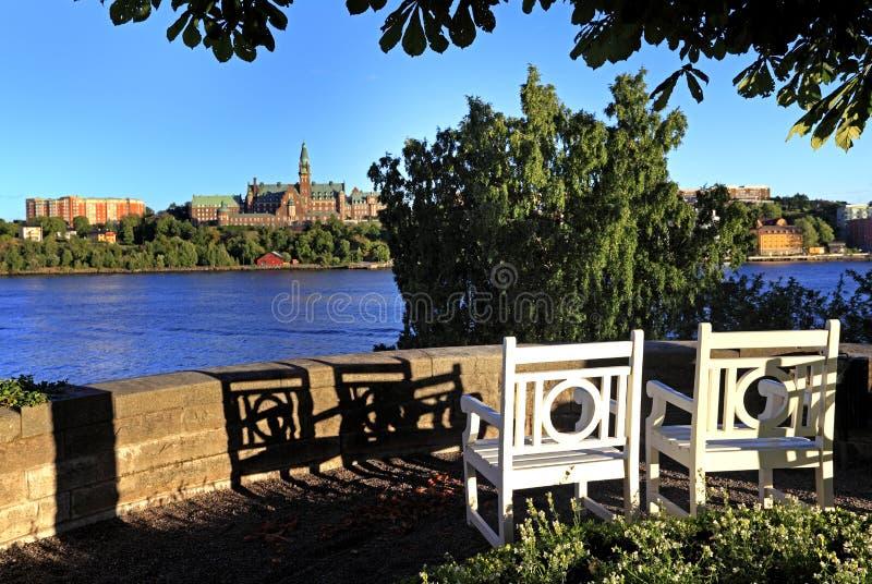 Stockholm, Sweden - Djurgarden Island - view from the Prince Eugens Waldemarsudde park on the Kvarnholmen and Danvikshem castle h. Stockholm / Sweden - 2013/08/ royalty free stock image