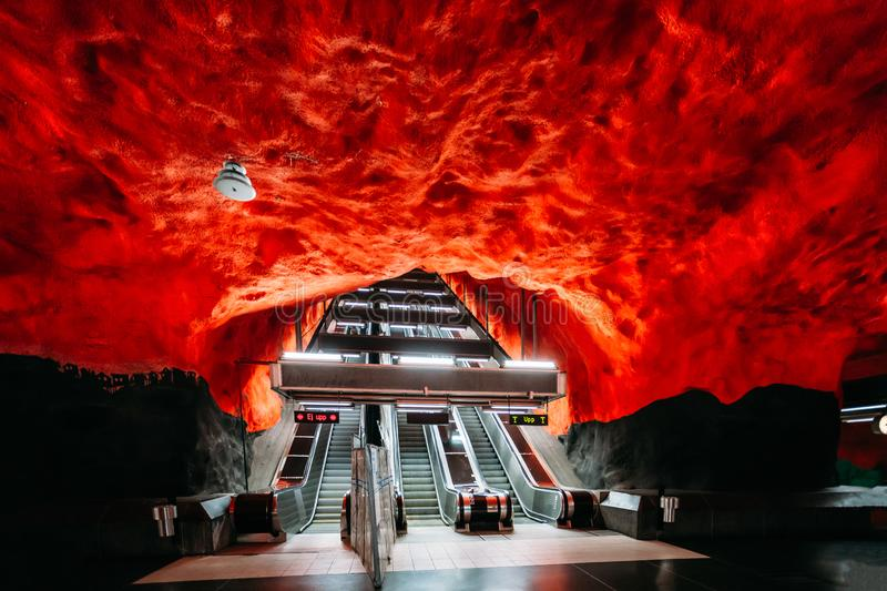Stockholm, Sweden. Escalator in Stockholm Metro Underground Subw. Ay Station stock images