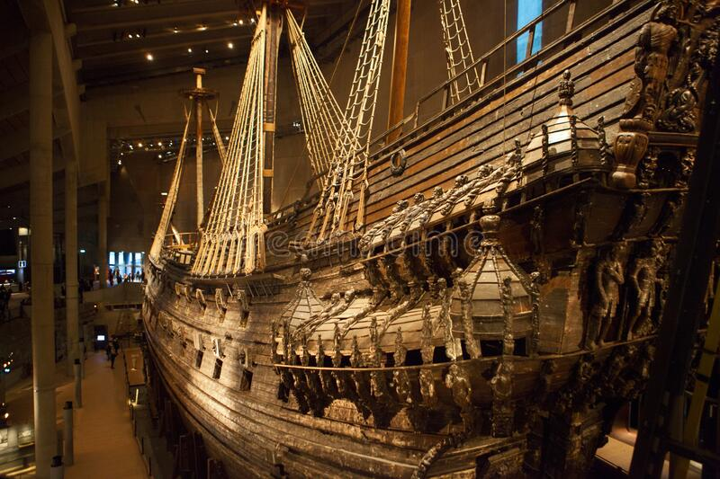 STOCKHOLM, SWEDEN - JANUARY 06, 2018: Vasa Museum unique, world`s only, 17th century wooden ship view. Ship capsized and sank in. Stockholm 1628, it was royalty free stock photography