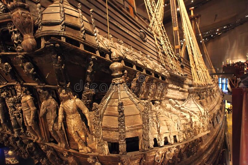 STOCKHOLM, SWEDEN - JANUARY 06, 2018: Vasa Museum unique, world`s only, 17th century wooden ship view. Ship capsized and sank in. Stockholm 1628, it was stock images