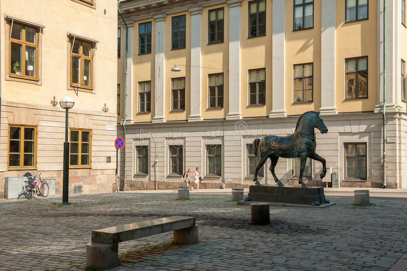 Blasieholmen square, Stockholm. Stockholm, Sweden - July 22, 2011: Blasieholmen square in the city center of Stockholm. A bronze horse inspired by the horses of stock photos