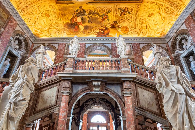 The main stairs of Drottningholm palace at Stockholm, Sweden. STOCKHOLM,SWEDEN-JULY14,2019:The main stairs of Drottningholm palace at Stockholm, Sweden, it is stock photo
