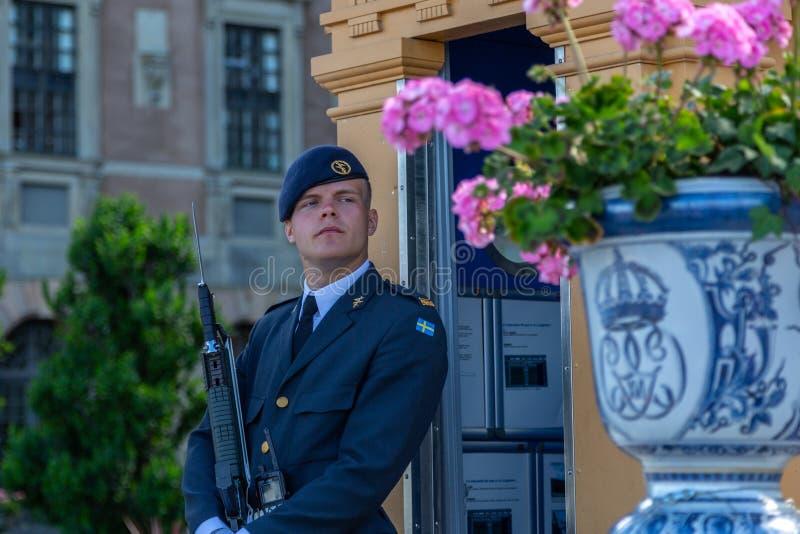 Royal guardsman on guard at Swedish Royal Palace stock image