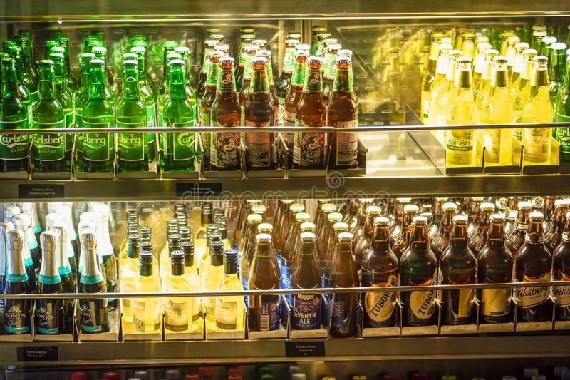 Stockholm, Sweden - March, 2019. Beverage display on cold freezer at local store in Arlanda airport, Stockholm, Sweden. Variety of stock image