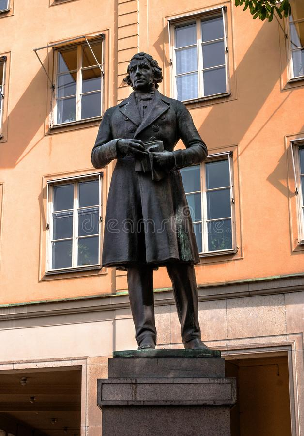 Stockholm, Sweden - May 1, 2019: Lars Johan Hierta monument, Statue of Lars Johan Hierta at Riddarhustorget in Gamla stock image