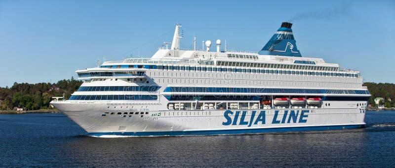 STOCKHOLM, SWEDEN - MAY 15, 2012: Silja Europa international ferry in swedish waters near Stockholm. Silja Europa international ferry in swedish waters near royalty free stock photos