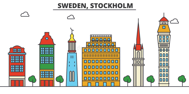 stockholm Sweden Miasto linii horyzontu architektura _ ilustracji