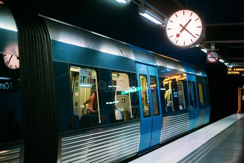 Stockholm, Sweden. Modern Illuminated Metro Underground Subway S. Tation With Train royalty free stock photos