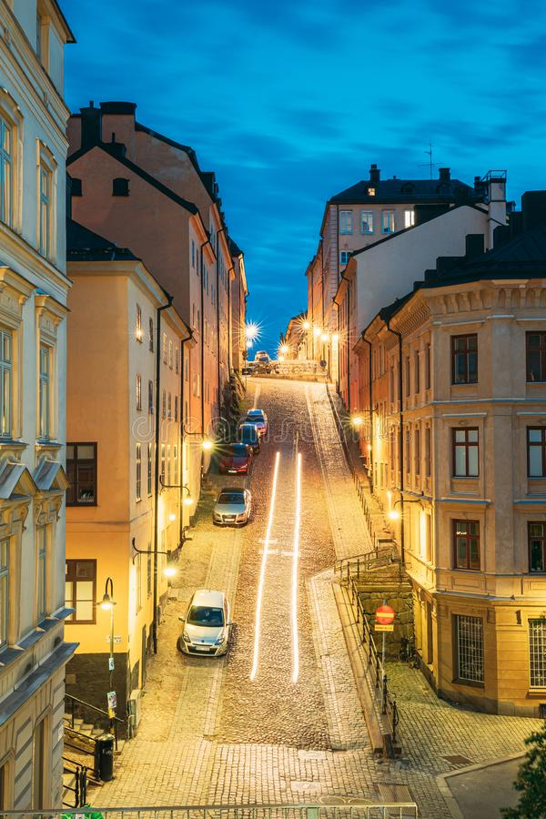 Stockholm, Sweden. Night View Of Traditional Stockholm Street. Residential Area, Cozy Street In Downtown. District royalty free stock photography
