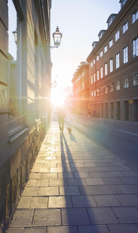 Stockholm, Sweden, November 3, 2018 - the usual Lafestyle photo. Streets of the business district. Sunset scenic, light effect. Toning, selective focus royalty free stock photos