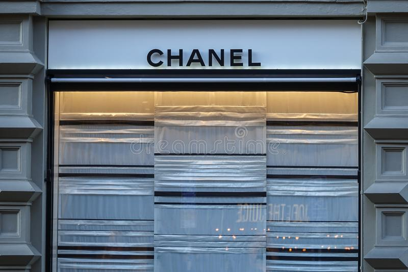 Chanel store front. French luxury brand of fashion. royalty free stock images