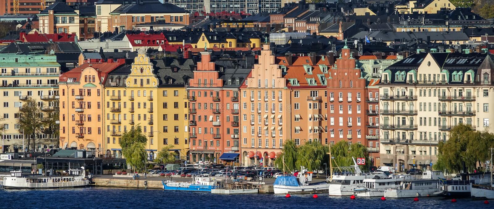 Colorful old houses on Kungsholmen, island in Lake Mälaren in Sweden, part of central Stockholm. stock photography