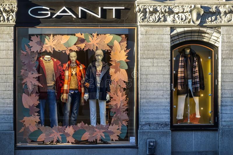 GANT store front. Clothing brand. Autumn decoration. stock photography
