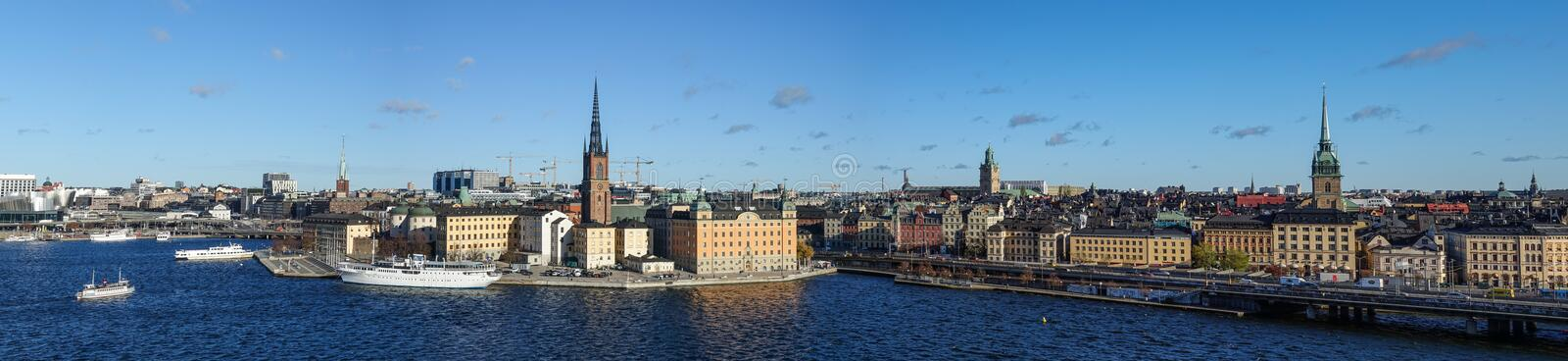 Panorama of Riddarholmen and the old town of Stockholm, Sweden. royalty free stock photo