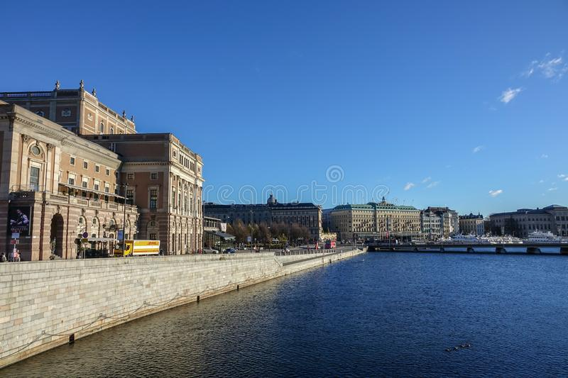 Royal Swedish Opera and Grand Hotel in Stockholm. stock photo