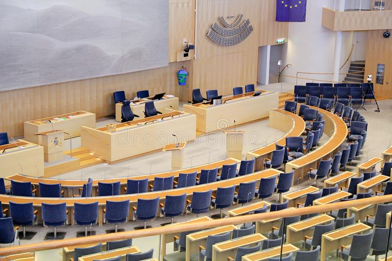 Stockholm, Sweden - 2018 09 30: Stockholm Parliament Interior in. Sweden stock image
