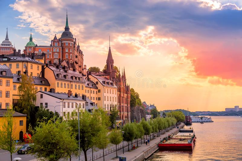 Stockholm, Sweden. Scenic summer sunset view with colorful sky of the Old Town architecture in Sodermalm district.  royalty free stock photos